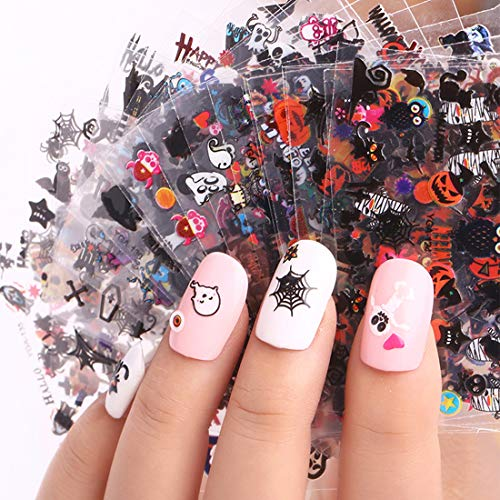 Halloween Nail Decals Stickers, 24 Sheets 3D Nail Art Decals Self-adhesive DIY Nail Art Tips Stencil for Halloween Party (Halloween Style1)