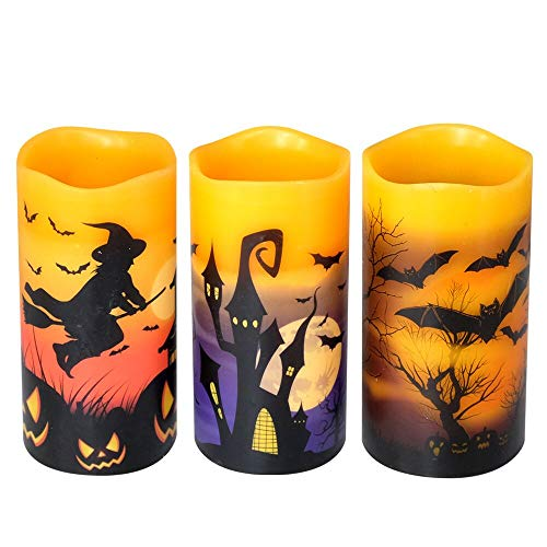 DRomance Flameless Flickering Candles Battery Operated with 6 Hour Timer, Set of 3 Real Wax LED Pillar Candles Warm Light with Castle, Witch, Bats Decal Halloween Decor Candles for Kids(D3″ x H6″)
