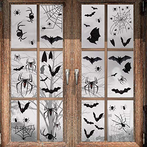 Halloween Decoration – 113 PCS Halloween Black Spider Bat Window Cling, Spooky Halloween Stickers Decals for Halloween Party Decoration (4 sheet)