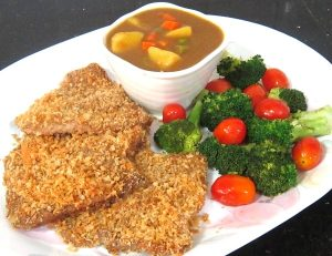 Panko-Pork-Cutlets-with-Potato-Curry-and-Baked-Veggies-Recipe