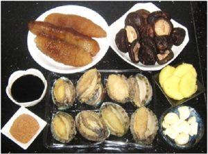 Ingredient-for-Braised-Abalone-Sea-Cucumber-and-Mushrooms-Recipe