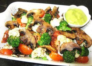 Baked-Mushroom-and-Veggies-with-Avocado-Dressing-Recipe
