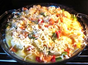Baking-Potato-and-Sausages-with-Cheese-Recipe
