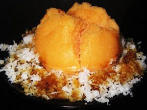 Natural-Carrot-Juice-coloring-Rice-Flour-Cake-with-grated-coconut-and-coconut-palm-sap-sugar