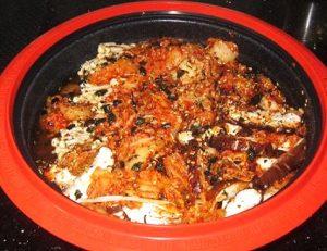 Kimchi-with-Enoki-and-Shitake-Mushroom-topped-with-Salmon-Seaweed-Flakes