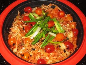 Kimchi-with-Enoki-Mushroom-and-Cherry-Tomatoes